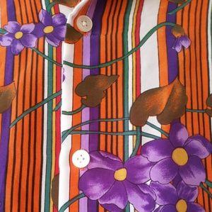 Amazing VINTAGE Rainbow 70s Floral Button Down